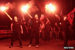 Golden Dawn members celebrate in Thessaloniki, 17 June