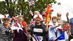 Patriotic fans line the torch relay route in Darlington, 17 June 2012