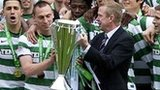 Celtic lift the Scottish Premier League trophy