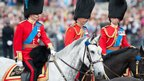 The Duke of Cambridge, the Prince of Wales and the Duke of Kent attend the ceremony on horseback