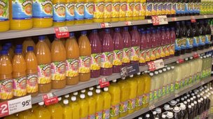 Bottles in supermarket