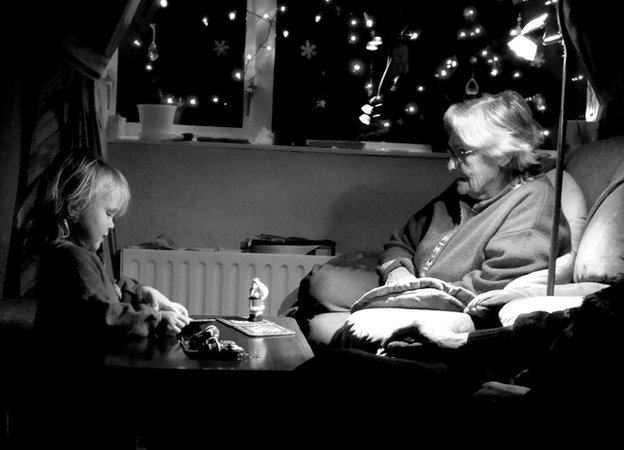 Maisie sharing a special Christmas moment with her late great-grandmother