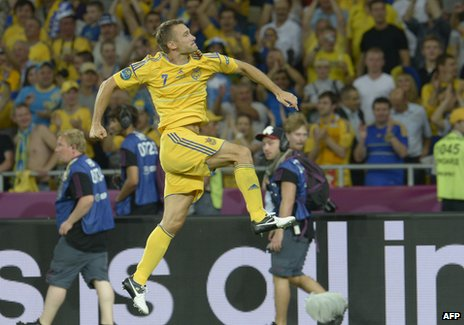 Ukrainian forward Andriy Shevchenko celebrates at the end of the Euro 2012 championships football match Ukraine v Sweden on June 11, 2012