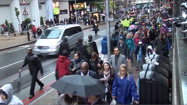 Commuters outside London Bridge station during the Jubilee weekend