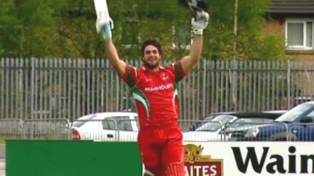 Tom Maynard hitting a century for Glamorgan in 2010