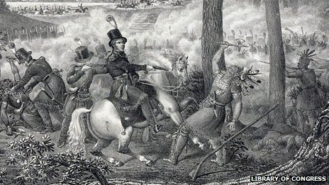 An 1833 lithograph of the Battle of the Thames