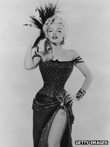 Marilyn Monroe in costume as dance hall girl in 1954