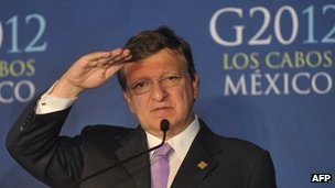 European Commission President Jose Manuel Barroso at the G20 summit in Los Cabos