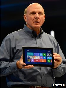 Steve Ballmer holds Surface tablet