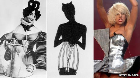 (left to right) woman displaying corsets in 1830 (Getty); an illustration of a woman wearing a 1950s corset (Getty); Lady Gaga in a gold corset (Associated Press)