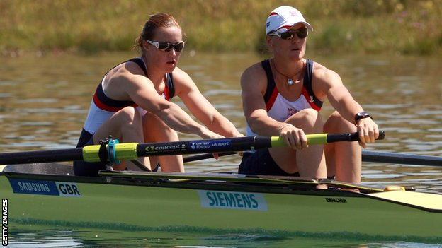 Helen Glover (left) and Heather Stanning row at Munich