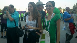 Marianna and Agnieszka outside the stadium