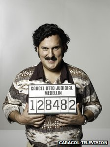 Still from Caracol television showing actor Andres Parra as Pablo Escobar