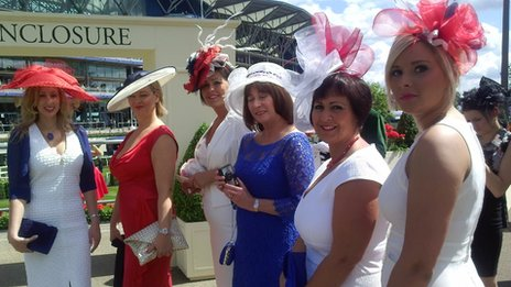 Kat Habbitts (far left) and her friends at Royal Ascot on Tuesday