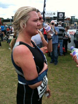 Nicola Wilding competing in her first triathlon to raise money for a