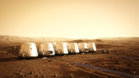 Mars colony graphic