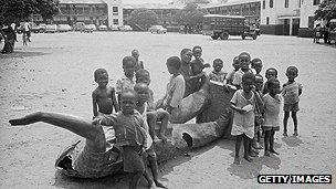 Toppled statue of Nkrumah
