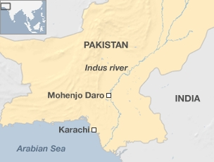 Map of Pakistan locating Mohenjo Daro
