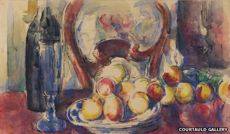 Apples, bottle and chairback (1904-6) by Paul Cezanne image courtesy of The Courtauld Gallery, London