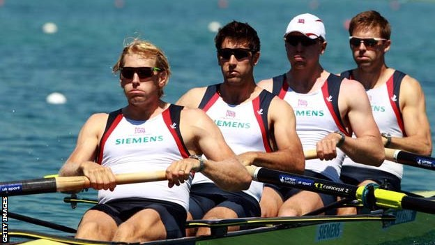 Tom James (second from left) in the Great Britain coxless four boat