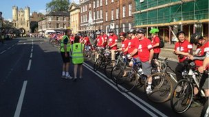 York cyclists await the torch