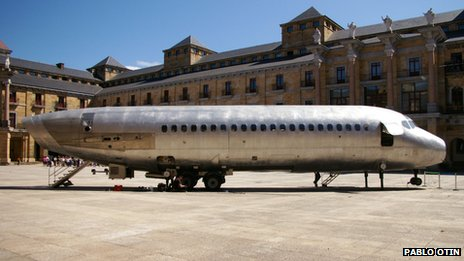 a wingless DC-9 plane has been transformed into a mobile arts space