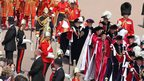 The Queen walks from Windsor Castle to King George VI chapel for the Order of the Garter ceremony