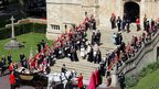 Members of the royal family leave St George's Chapel following the service of the Order of the Garter at Windsor Castle
