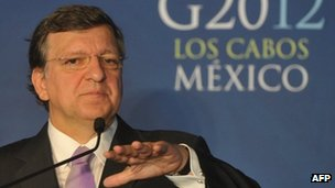 Jose Manuel Barroso speaks at a press conference in Los Cabos, Mexico 18 June 2012