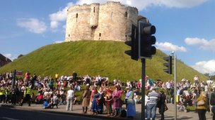 Mixed bag of supporters at Clifford's Tower