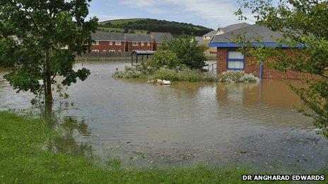 Flooding at Ystwyth Medical Group GP practice, Parc Y Llyn, Aberystwyth