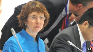 Catherine Ashton at the second day talks on Iran&#039;s nuclear programme in Moscow on 19 June 2012