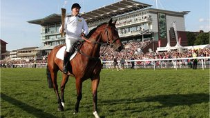 Harvey Smith carried the torch at York Racecourse