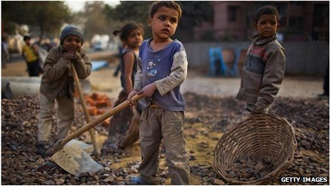 Children working in India (file pic)
