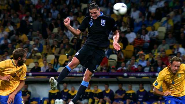 Andy Carroll scores against Sweden