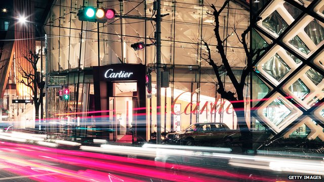 Luxury brand boutiques are seen in Tokyo's shopping district of Omotesando