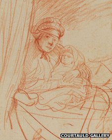 Saskia with one of her children 91635) by Rembrandt van Rijn image courtesy of The Courtauld Gallery, London