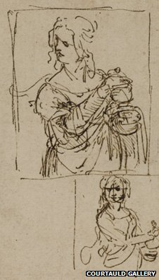 Studies for a Saint Mary Magdalene (1480-82) by Leonardo da Vinci image courtesy of The Courtauld Gallery, London