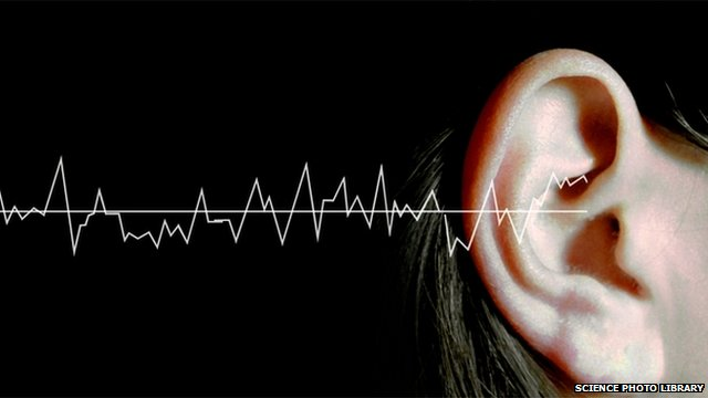 Sound waves graphic with woman's ear