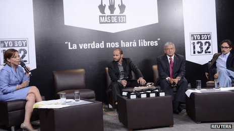Left to right: Josefina Vazquez Mota, empty chair, debate moderator, Andres Manuel Lopez Obrador, Gabriel Quadri