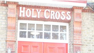 The entrance to Holy Cross School