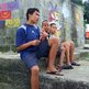 Boys in favela with kite