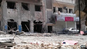 Damage to buildings in central city of Homs. 19 June 2012