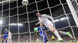 Wayne Rooney heads England's goal against Ukraine