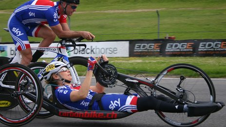 Paralymic cyclists testing the track at Brands Hatch in Kent