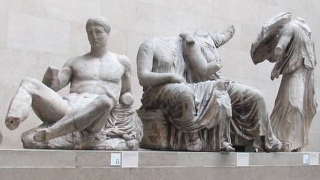 Parthenon pediment figures in the British Museum