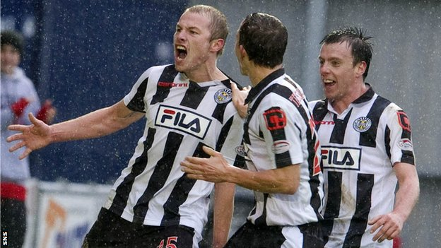 Mooy (left) celebrates scoring for St Mirren against Rangers