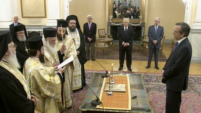 Antonis Samaras being sworn in