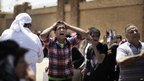 A supporter of Hosni Mubarak screams after hearing the verdict outside the court in Cairo on 2 June 2012.