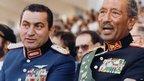 EHosni Mubarak (left) and late President Anwar Sadat